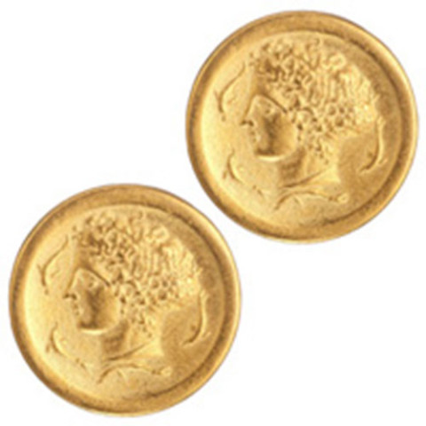 Arethusa Coin Button Earrings