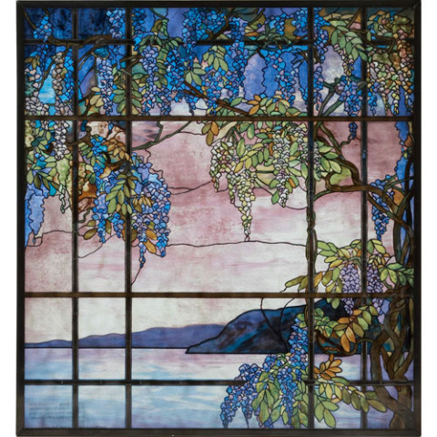 Louis Comfort Tiffany View of Oyster Bay Glass Panel