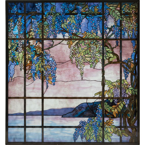 Louis Comfort Tiffany.Louis Comfort Tiffany View Of Oyster Bay Glass Panel