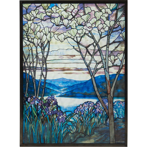 Louis Comfort Tiffany Magnolias and Irises Glass Panel
