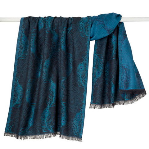 Peacock Feather Jacquard Shawl