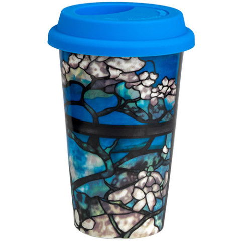 Louis Comfort Tiffany Dogwood Ceramic Travel Cup
