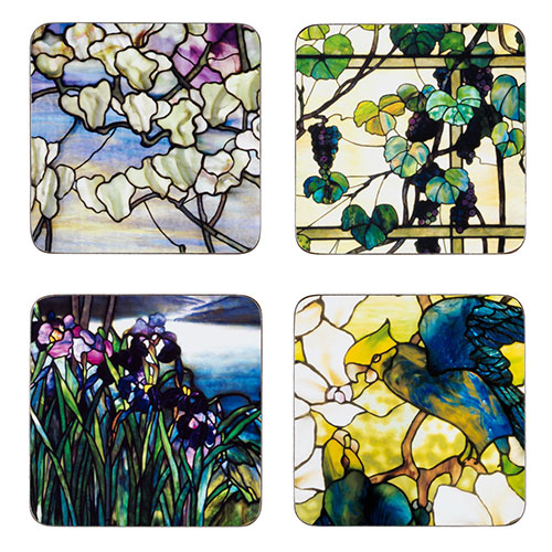 Louis Comfort Tiffany Stained Glass Coasters (set of 4)