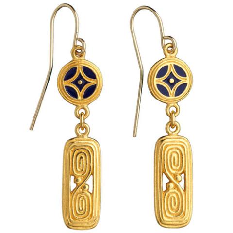 Arts & Crafts Enamel Drop Earrings