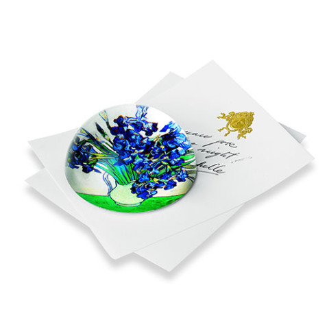 DOMED PAPER WEIGHT: VAN GOGH IRISES (round)