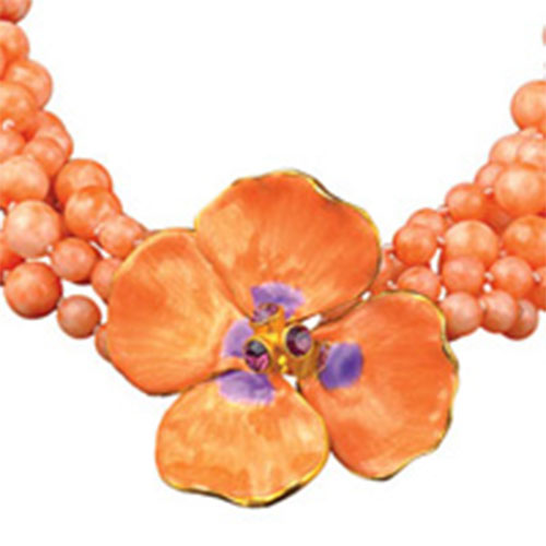 Russian Imperial Pink Pansy Necklace