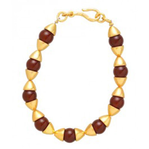 Egyptian Capped Bead Carnelian Bracelet