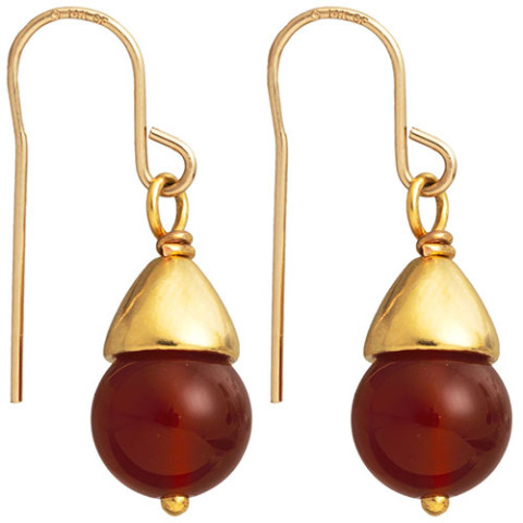 Egyptian Capped Bead Carnelian Earrings