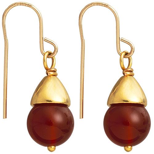 Egyptian Capped Bead Carnelian Earrings