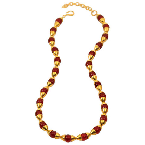 Egyptian Capped Bead Carnelian Necklace