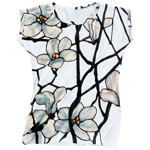 Louis C. Tiffany White Magnolia Slim Fit Top /XL