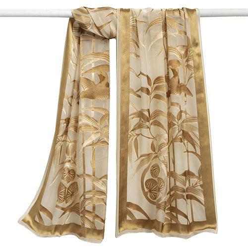 Golden Bamboo Burnout Shawl (ivory/gold)