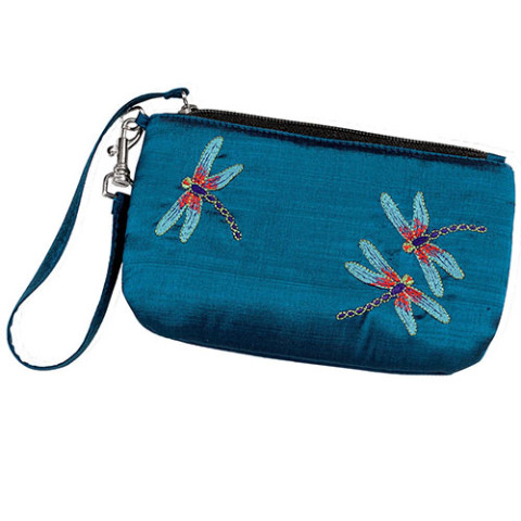 Louis Comfort Tiffany Dragonfly Embroidered Wristlet Bag