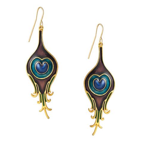 Parisian Peacock Feather Earrings