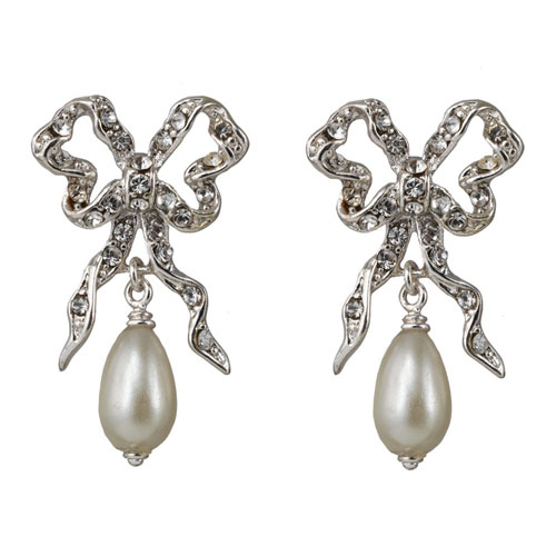 Belle Époque Bow and Pearl Drop Earrings