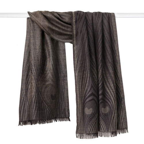 Louis Comfort Tiffany Peacock Feather Shawl (taupe/gray)