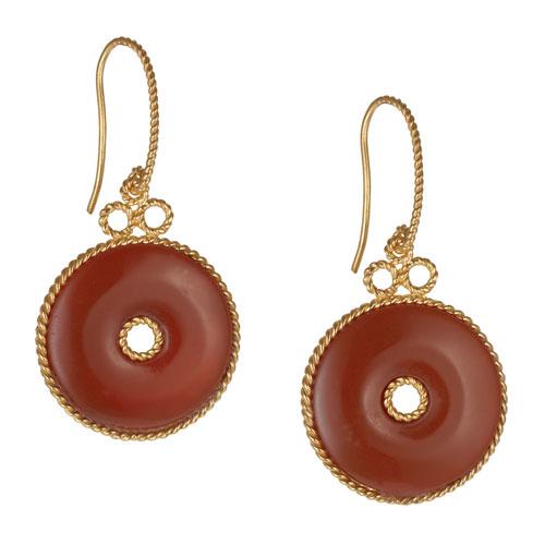 Chinese Agate Bi Earrings
