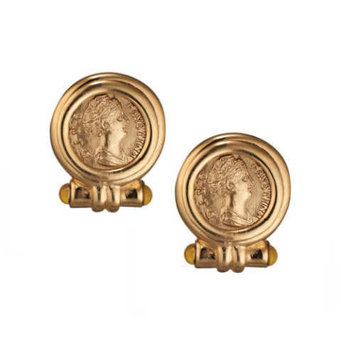 Roman Empress Coin Earrings (clip)