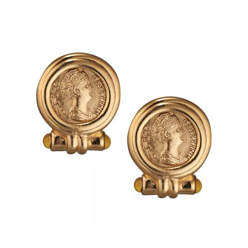 Roman Empress Coin Earrings (clip)
