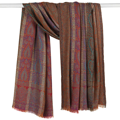 French Paisley Striped Shawl