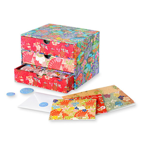 Japanese Silks drawer-style  notecard box