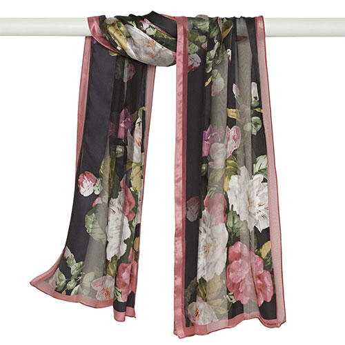 Cabbage Rose Satin Stripe Oblong Scarf (black)