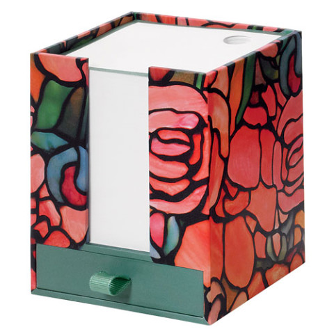 NOTECUBE WITH DRAWER: LCT PEONY