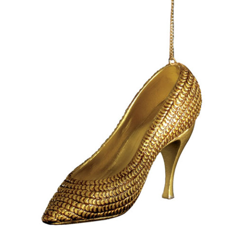 Glittering Gold Shoe Ornament