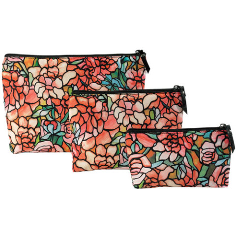Louis Comfort Tiffany Peonies Cosmetic Cases (set of 3)