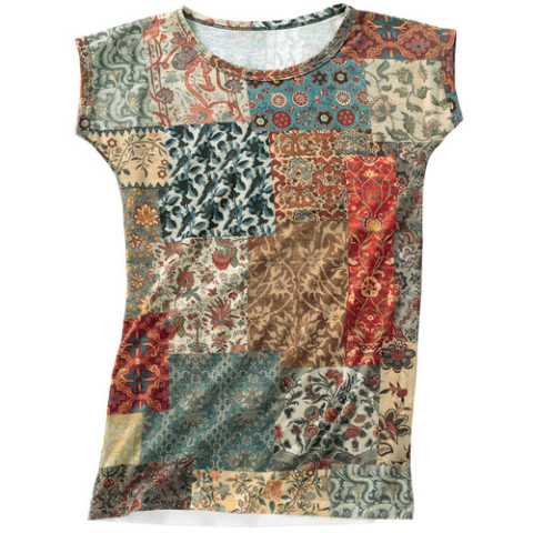 Interwoven Globe Patchwork Slim Fit Top (small)