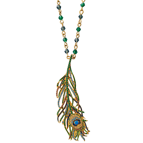 Jeweled Peacock Feather Pendant