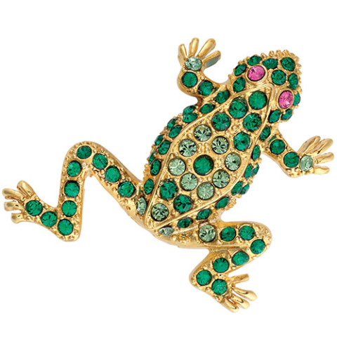Parisian Jeweled Frog Pin