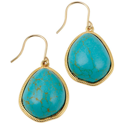 Tibetan Pendant Drop Earrings (turquoise)