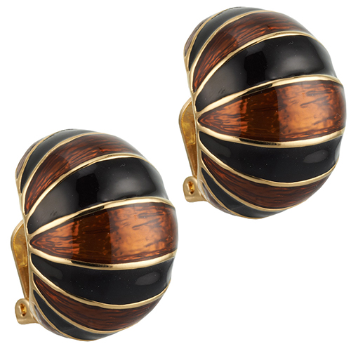 Ciner Collection: Black and Topaz Earrings (clip)