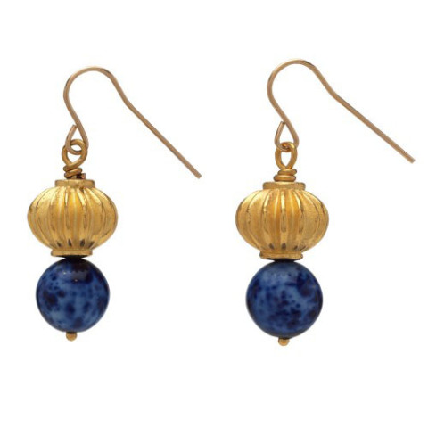 Thutmose III Bead Earrings (lapis)