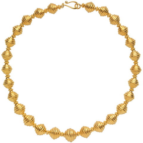 Golden Ribbed Bead Necklace