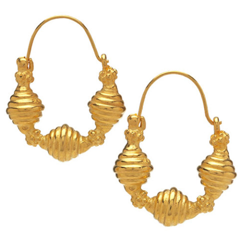 Golden Ribbed Bead Earrings