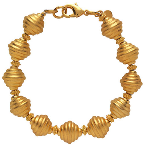 Golden Ribbed Bead Bracelet