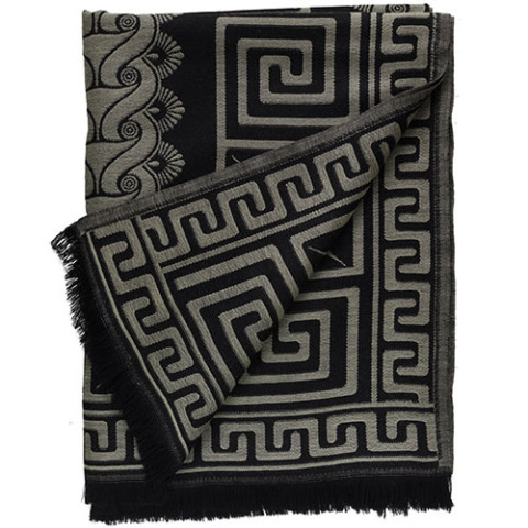 Greek Meander and Scroll Pattern Jacquard Throw