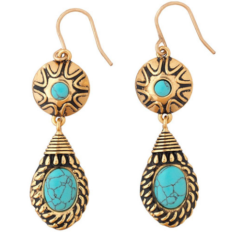 TIBETAN AMULET DROP EARRINGS
