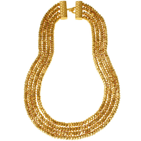 Indian Gold Bead Multi Strand Necklace