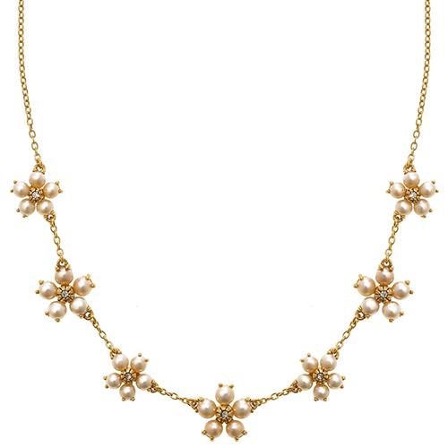 Forget-Me-Not Flower Pearl Neckalce
