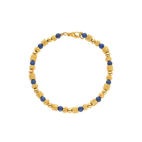Greek Granulated Bead And Lapis Bracelet