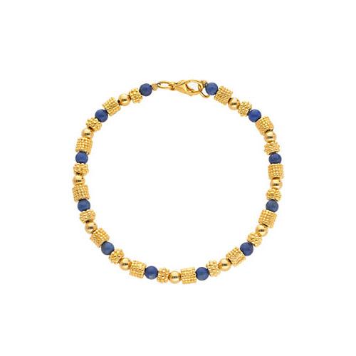 Greek Granulated Bead And Lapis Bracelet