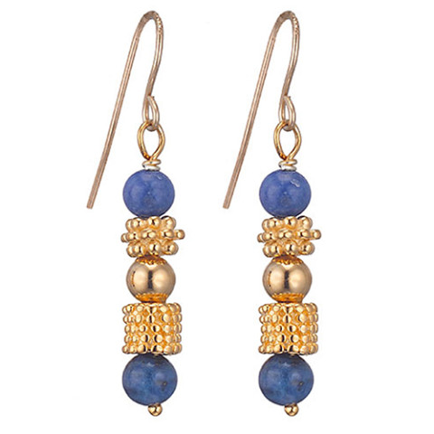Greek Granulated Bead And Lapis Earrings