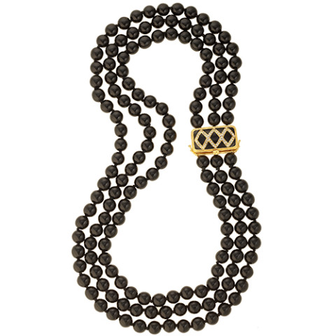Russian Imperial Beaded Necklace with Latticework Clasp
