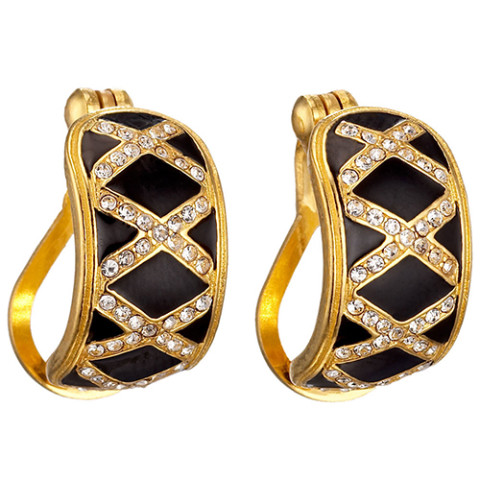 Russian Imperial Latticework Hoop Earrings