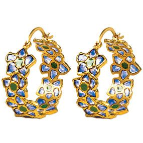Azure Posy Hoop Earrings
