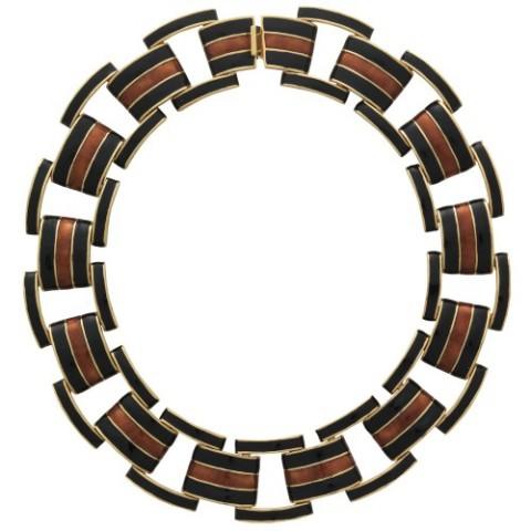 Ciner Collection Black and Topaz Link Necklace