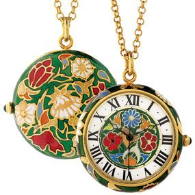 Floral Enamel Pendant Watch